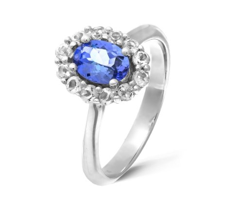 Pretty 925 Sterling Silver Ladies Solitaire Engagement Ring with Cubic Zirconia/CZ, Tanzanite 0.75 Carat Size Q