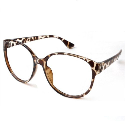 FancyG® Retro Fashion Style Oval Leopard Costume Cosplay Glass Frame NO LENSES