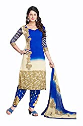Varsha Women's Chiffon Unstitched Dress Material (Blue and Off-White)