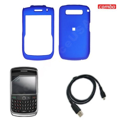 Blackberry Curve 8900 Javelin Combo Rubber Feel Blue Protective Case Faceplate Cover + LCD Screen Protector + USB Data Charge Sync Cable for Blackberry Curve 8900 Javelin