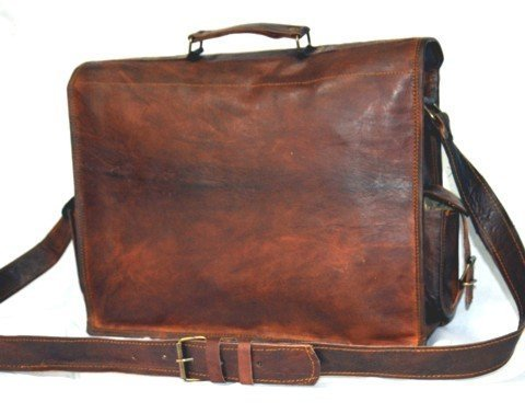 Handmadecraft ABB 18 Inch Vintage Handmade Leather Messenger Bag for Laptop Briefcase Satchel Bag 3