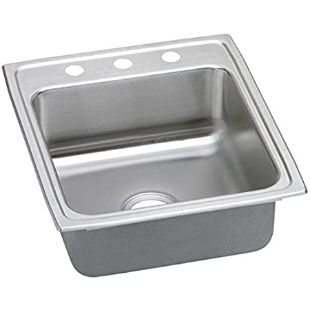 Elkao|#Elkay LRADQ2022652 18 Gauge Stainless Steel 19.5 Inch x 22 Inch x 6.5 Inch single Bowl Top Mount Kitchen Sink, 2 Faucet Holes,