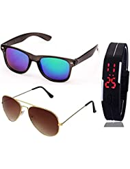 BLUE MERCURY WAYFARER SUNGLASSES AND GOLDEN BROWN AVIATOR SUNGLASSES WITH TPU BAND RED LED DIGITAL BLACK DIAL...