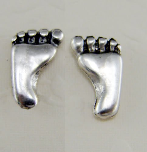 A Wee Little Foot Stud Earring in Sterling Silver...A Single, Why Buy Two, When You Only Need One?