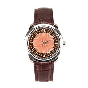 Dr. Koo Sunburst Vintage Leather Watch Bullseye Wrist Watch For Men