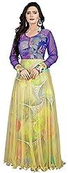 Clickedia Women & Girls Beautiful Yellow & Blue Semi Stitched Net Gown