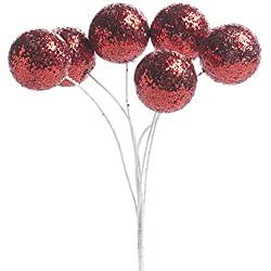 Factory Direct Craft® Bulk buy of 72 Red Glittered Ball Embellishing Picks for Favors, Crafting and Embellishing
