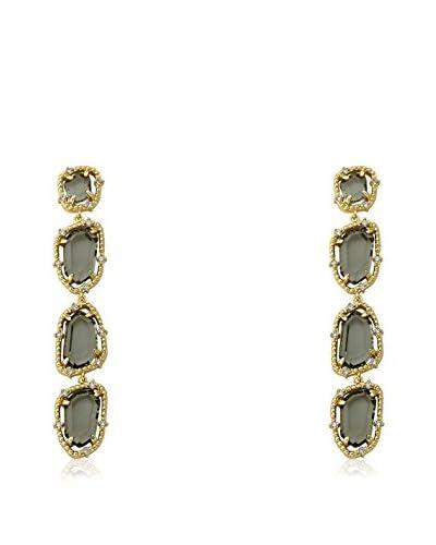 Riccova 14k Gold Plated Cz Around Black Sliced Glass Long Dangle Earrings