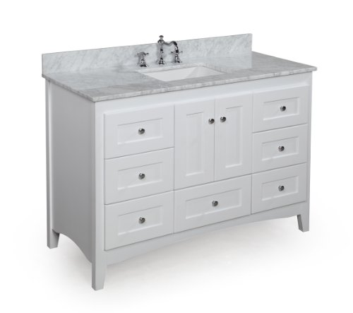 Abbey 48-inch Solid Wood Bathroom Vanity (Carrera/White): Includes Soft Close Drawers, Self Closing Door Hinges and Rectangular Ceramic Sink