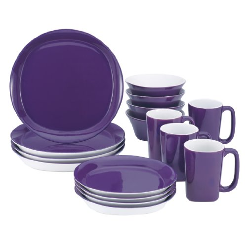 Rachael Ray Dinnerware Round and Square 16-Piece Dinnerware Set, Purple