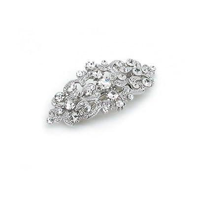 Bridal Hair Barrette Vintage Romancing Heart Rhinestone Crystal Small 2.5 inches