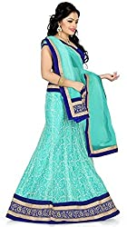 Sweety Plus Women's Raw Silk Net Lehenga Choli (Mira_009_Blue_Free Size)