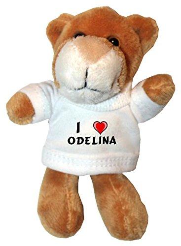 Plüsch Löwe Schlüsselhalter mit einem T-shirt mit Aufschrift mit Ich liebe Odelina (Vorname/Zuname/Spitzname)