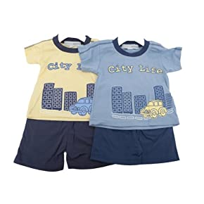 Baby Boys City Life Print Short Sleeve T-Shirt and Shorts Baby Clothing Set