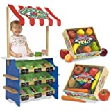 Melissa & Doug Grocery Store and Lemonade Stand with Playtime Fruits and Playtime Veggies Bundle