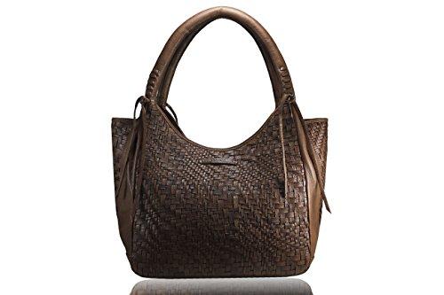 FERETI Borse grande pelle intrecciata Marrone Cognac borsa tracolla donna borsello
