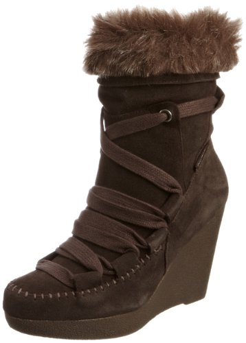 Calvin Klein Women's Sandra Wedges Boots Dark Brown/Grey Multi R7215 7 UK