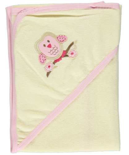 """Hudson Baby """"Owl"""" Organic Cotton Hooded Towel - Pink/Cream, One Size"""