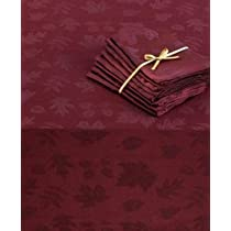 Bountiful Dinner Party 52x70-inch Oblong Autumn Leaves Tablecloth and 4 Napkins Plum