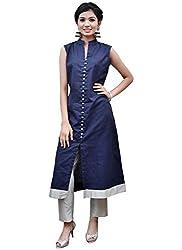 Isha Enterprise Women's Banglori Silk Stitched Blue Knee Length Kurti