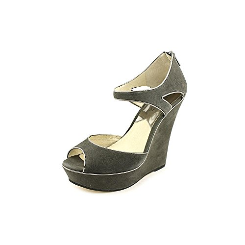 Michael Kors Riley Wedge Womens Size 8 Gray Wedge Sandals Shoes front-411236