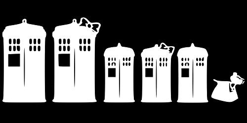 Dr Who Family Telephone Tardis WHITE Vinyl Car/Laptop/Window/Wall Decal (Dr Who Car Window Decals compare prices)