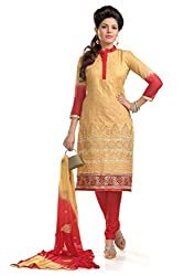Ethnic For You Women's Cotton Salwar Suit Dress Material(ETH5870_Beige)