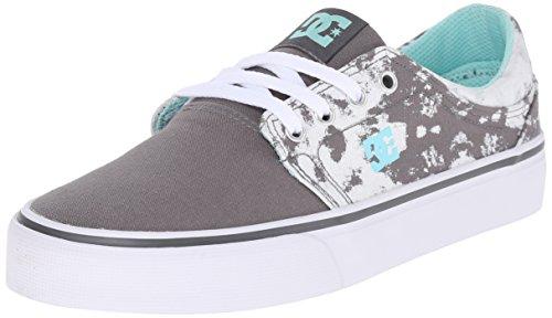 DC Women's Trase TX SE Skate Shoe, Grey/Black/White, 5 M US