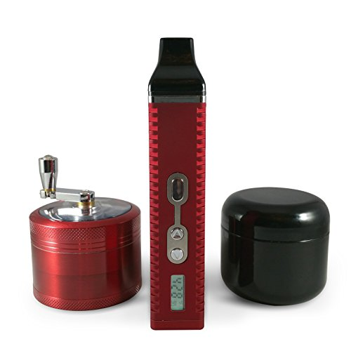 Kronic Krushers RED Best Grinder for Weed Tobacco Marijuana & Herb| Durable Zinc Alloy |4 Parts Hand-Grinder Magnetic Cap with VapePen Dry Herbal Vaporizer |2oz Stash Jar (Vapors For Smoking compare prices)