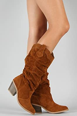 Qupid Muse-01 Western Cowboy Suede Slouchy Knee High Boot RUST (6)