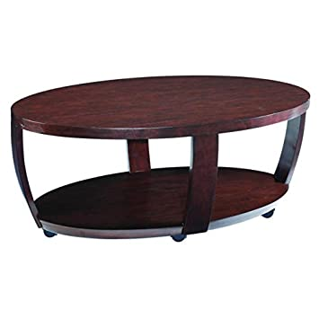 Modern Wood Sienna Oval Cocktail Table | Contemporary Solid Hardwood Round Veneer Coffee Table with Casters for Living Room |2 Spacious Organizer Shelves for magazines, newspapers, or Books