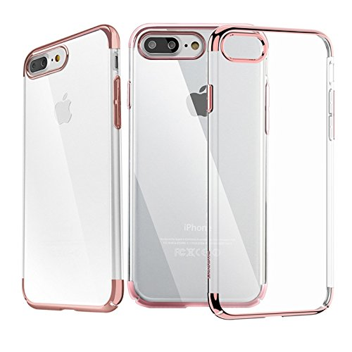 Tarkan iPhone 7 Plus Case [Latest] Designer Fusion Electroplated Ultra Slim Flexible Transparent Soft Back Cover For Apple iPhone 7 Plus [Rose]