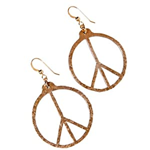 Peace Symbol Hand Hammered Delicate Peace Bronze Earrings on French Hooks