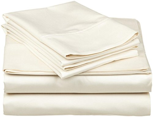 Ivory Solid Egyptian Cotton 300Tc Anjali Linen Short Queen 60X75 Inch Size Bed Sheet Set 4Pcs Pocket Depth 27 Inch Drop front-613665