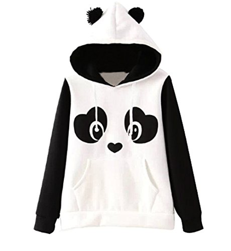 Jubileens Women's Cute Panda Print White and Black Fleece Hoodie Tops Pullover (M) (Teen Girl Clothes Cheap compare prices)