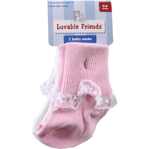 2-Pack Lace Cuff Baby Socks, 0-6 months