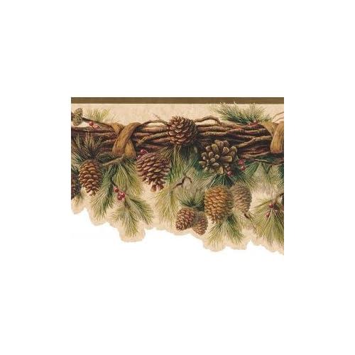 Sculpted Rustic Lodge Pinecone Swag Wallpaper Border