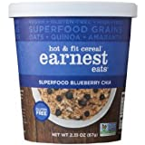 Earnest Eats Vegan & Wheat-Free Hot Cereal with Superfood Grains, Quinoa, Oats and Amaranth - Superfood Blueberry Chia - (Case of 6 - Single Serve Cups)
