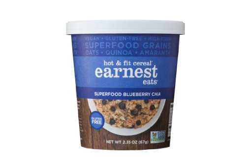 Earnest Eats Vegan & Wheat-Free Hot Cereal With Superfood Grains, Quinoa, Oats And Amaranth - Superfood Blueberry Chia - (Case Of 12 - Single Serve Cups)