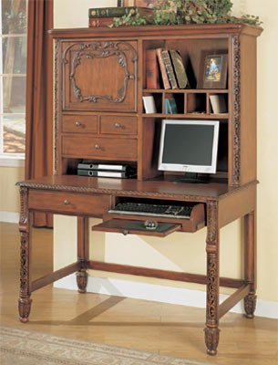 Buy Low Price Comfortable Brown Cherry Finish Computer Desk With Hutch (B001BG3X74)