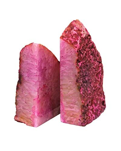 Pink Agate Bookends, Medium