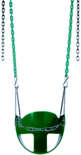 "Swing Baby Toddler S-13R Includes (Front Chain S-11 $3.49 Value) Half Bucket Seat Swing2 X H-55 Coated Chain 66"" Inch, Red Seat+ Chain back-383890"