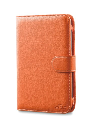 Acase Classic Kindle 3 (Latest Generation) Leather Case (Burnt Orange) with Screen Protector Film Clear (Invisible)