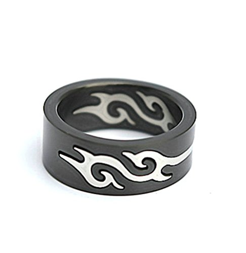 Men's Stainless Steel Finger Rings Fire Flame Ring Removable Black 0.8cm Size 11 (Fix My Ca compare prices)