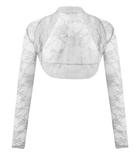 Fashion 4meno da donna Plus Size floreale pizzo Bolero coprispalle donna Frill Top Cream 48-50