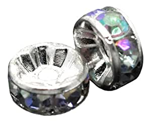 20 X SILVER PLATED CLEAR AB RHINESTONE RONDELLE SPACER BEADS 8 MM