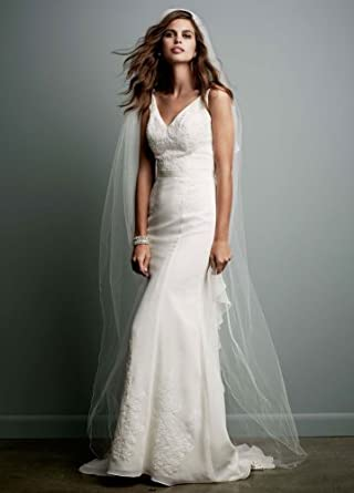 Chiffon Wedding Gown with Ruffle Detail and Lace Ivory