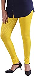 Unicraft Women's Cotton & Lycra Leggings (unicraft-016Yellow-Self)