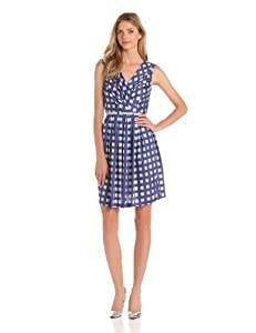 Ivy & Blu Women's Sleeveless Double V-Neck Dress With Full Skirt And Pockets