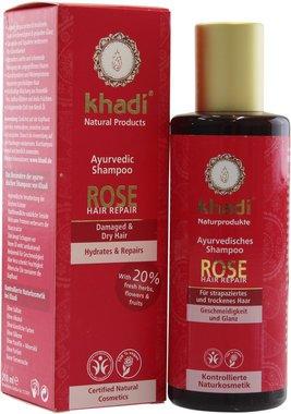 Khadi Shampoo Rosa Rigenerante Riparatore Idratante Rinforzante Capelli Danneggiati e Deboli